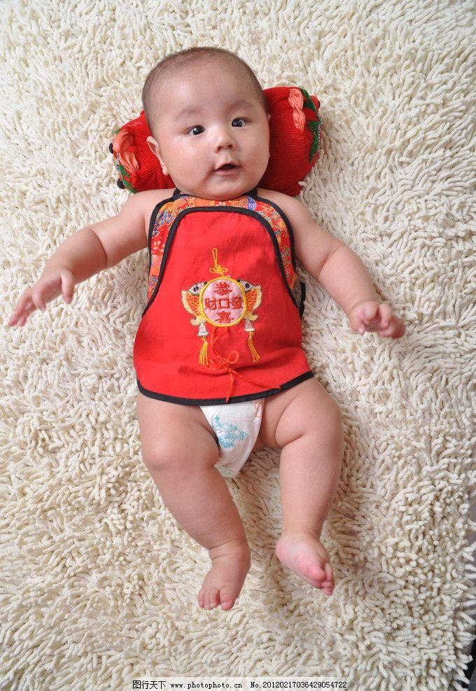 可爱宝宝 幼儿 笑脸 肚兜 儿童幼儿 人物图库 摄影