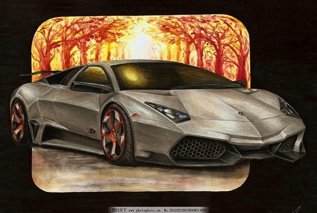 兰博基尼 手绘 名车 油画 超跑 绘画 树 阳光 绘画书法 文化艺术 设计
