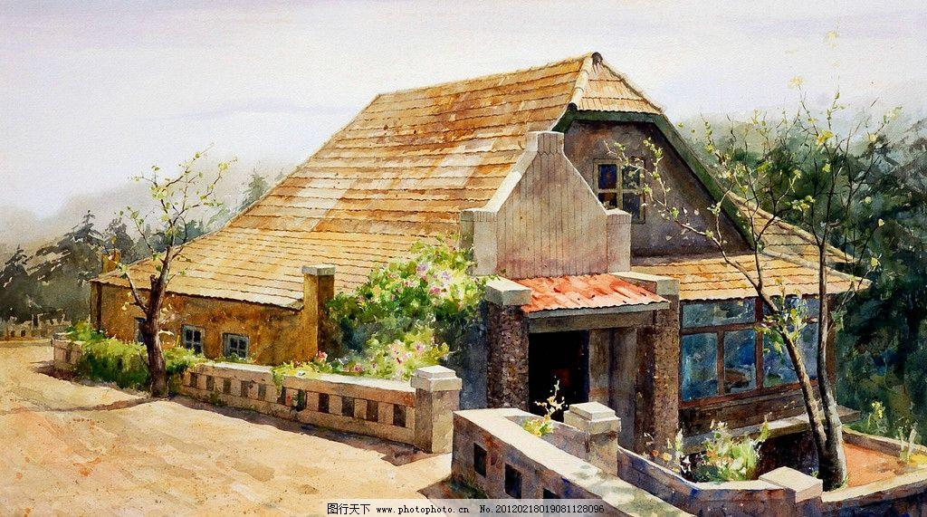 路邊的老房子 美術 水彩畫 風景畫 建筑 老房子 路 樹木 花草 水彩畫