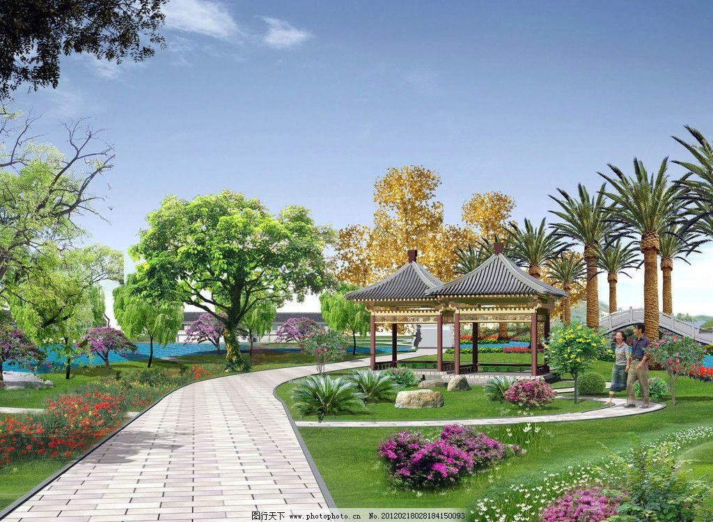 景观 绿化 道路 亭子 凉亭 天空 树 草地 草坪 花 石头 石桥 景观设计