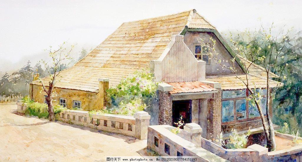 路边的老房子 风景画 花草 绘画书法 建筑 美术 路边的老房子设计素材