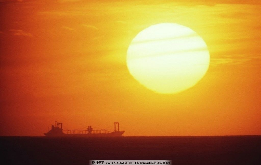 日出 日落 大海 油輪 黃昏景色 自然風景 旅游攝影 攝影 72dpi jpg