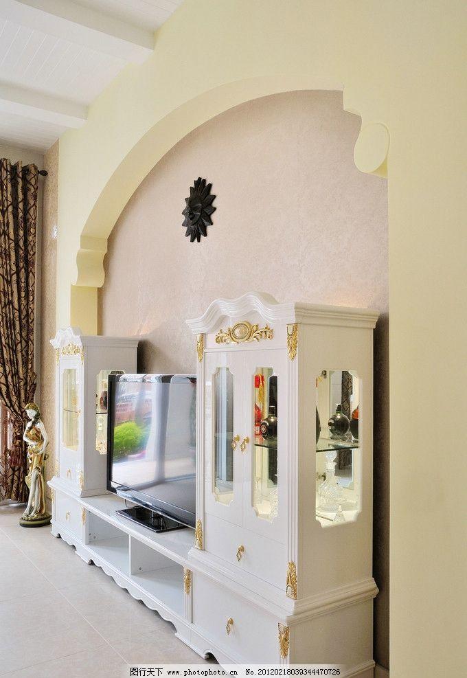 爱丁堡 室内实景图 欧式 电视背景 电视柜 酒水柜 窗帘 雕塑