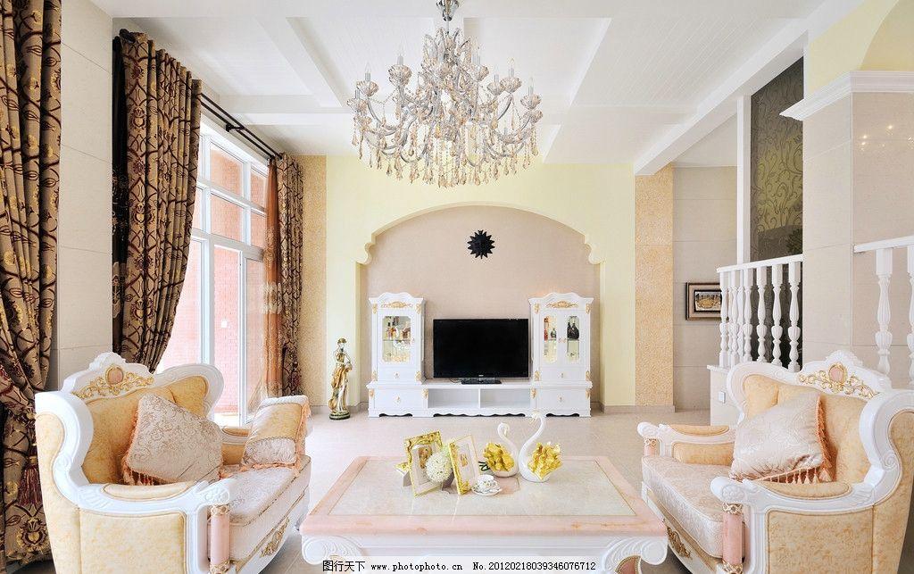 爱丁堡 室内实景图 欧式 白色 落地窗 客厅 窗帘 水晶灯 扶手
