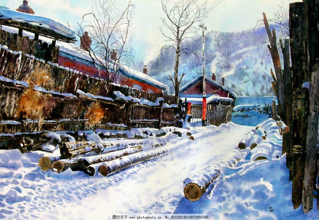 林区冬日 美术 水彩画 风景画 林场 冬景 雪地 房屋 白雪 树木 木头