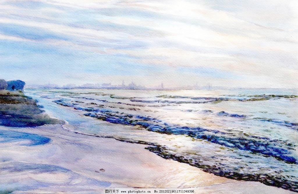 海细雨 大海 风景画 海浪 海水 绘画书法 礁石 美术 海细雨设计素材