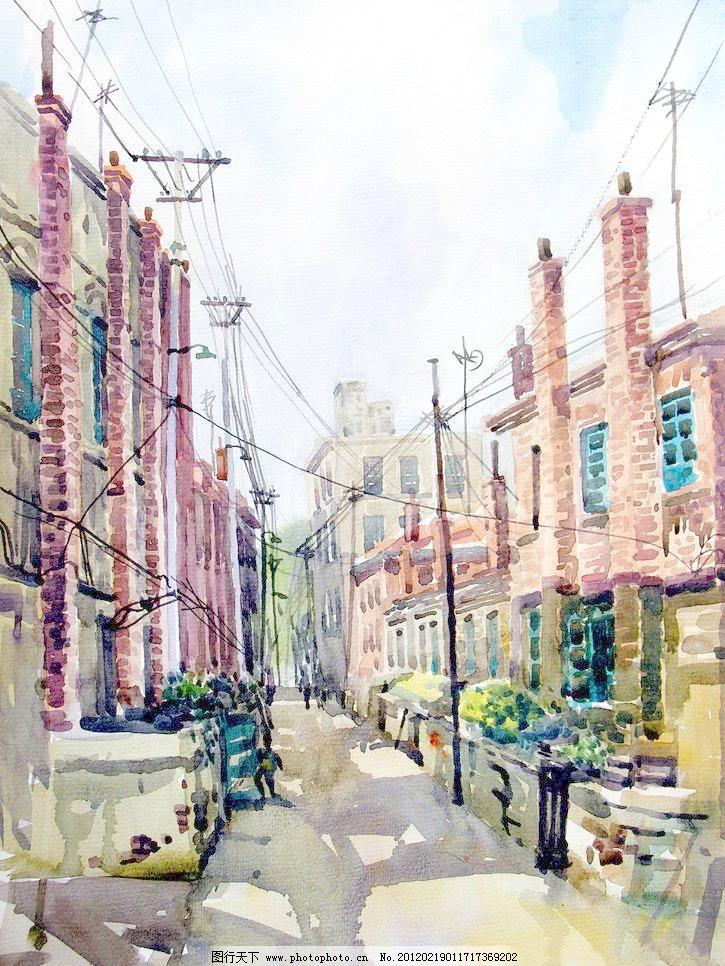 城市胡同 电缆 电线杆 房屋 风景画 绘画书法 街道 楼房 城市胡同设计图片