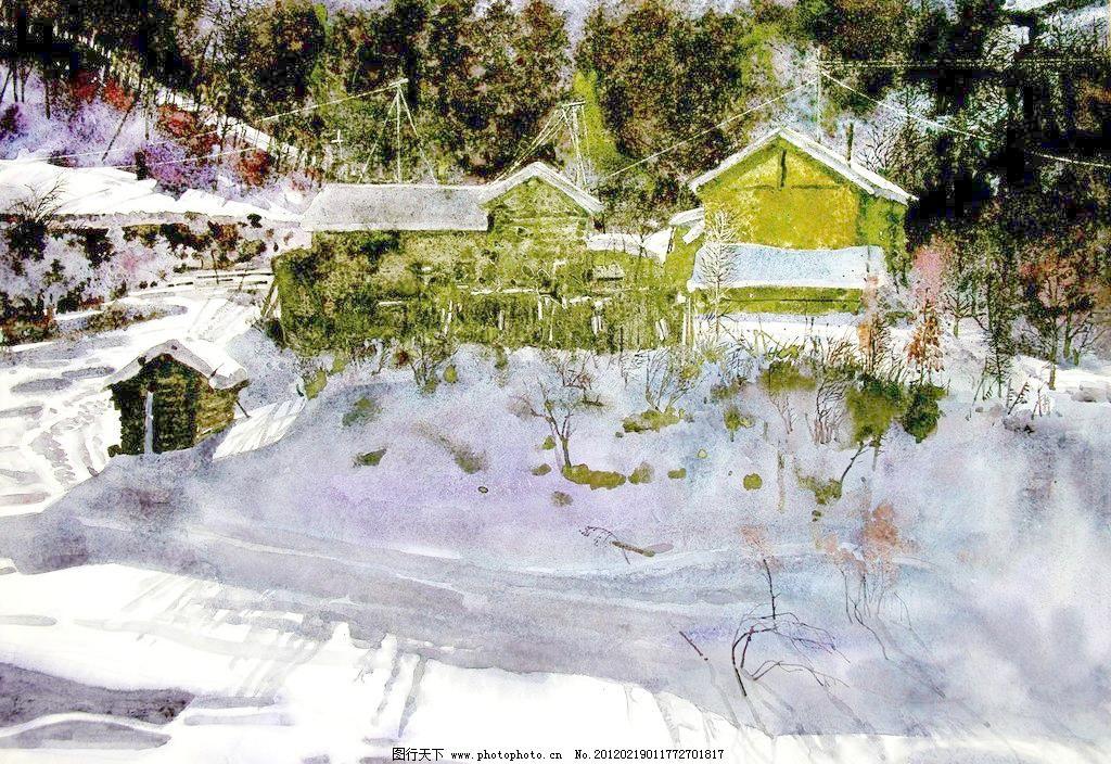 冬日的村子 美术 水彩画 风景画 冬天 村庄 电线杆 电缆 房屋 雪地 白