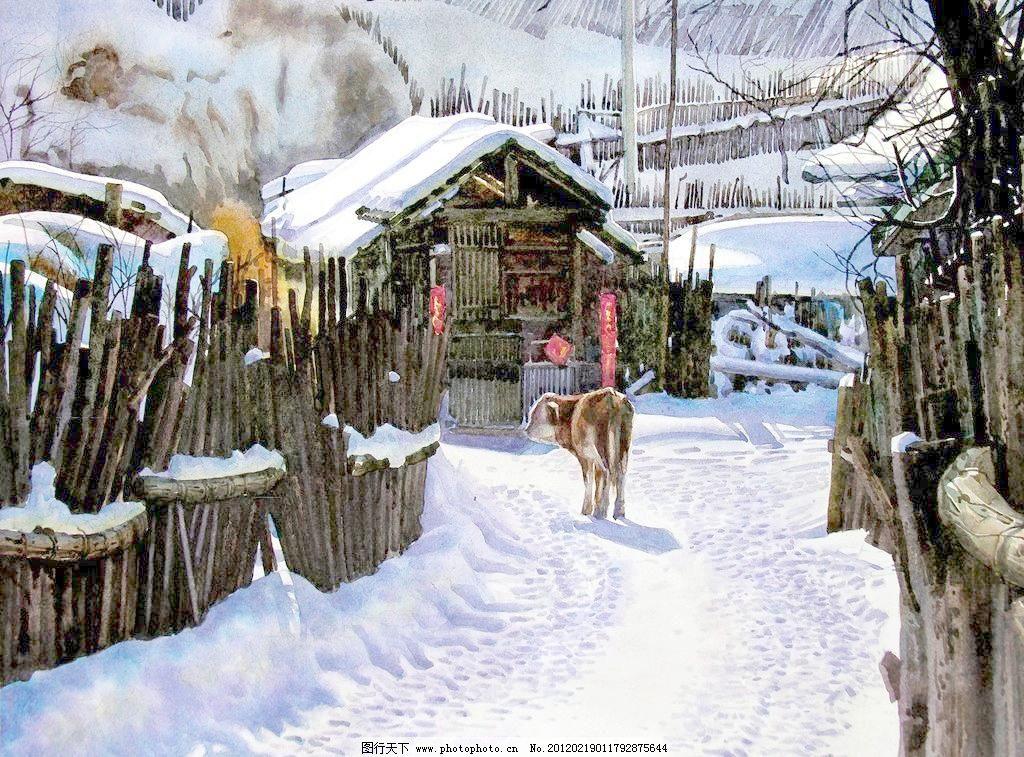 72dpi jpg 冬景 房子 風景畫 繪畫書法 美術 木欄桿 農家 設計 有雪的