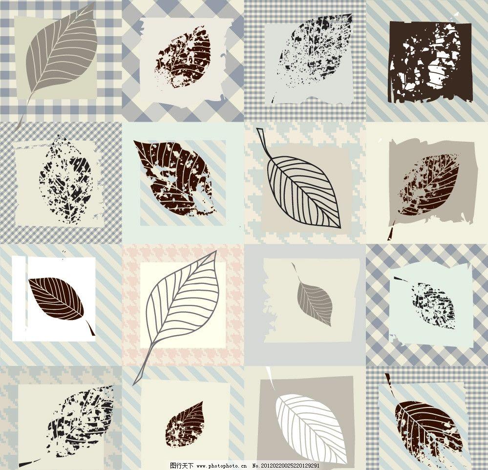 手绘树叶背景 手绘 树叶 墨迹 格子 时尚 背景 底纹 矢量 植物主题