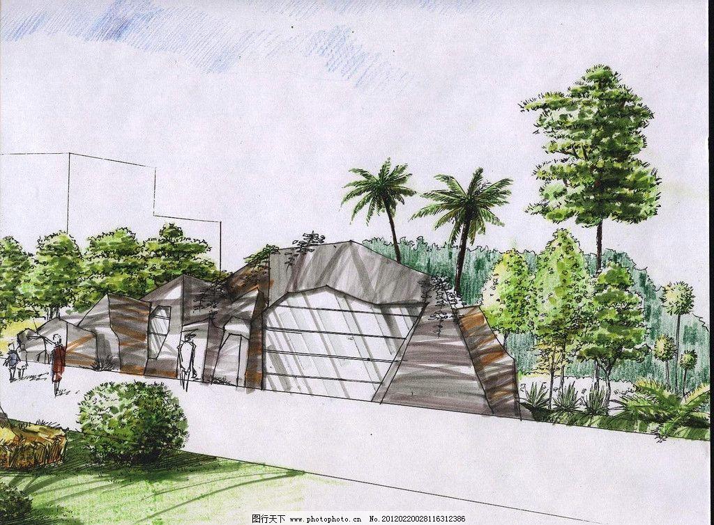 景观手绘 山 公路 草坪 树 椰树 手绘 室外 景观 绿色 手绘效果图