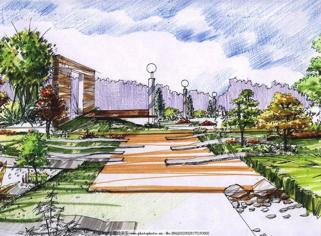室外景观 景观 手绘 天空 路灯 草坪 树 石门 路 景观设计 环境设计