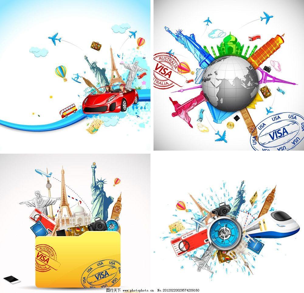 兜风 飞机 车票 机票 旅行箱 邮戳 指南针 飞翔 旅游 度假 旅行 地球图片