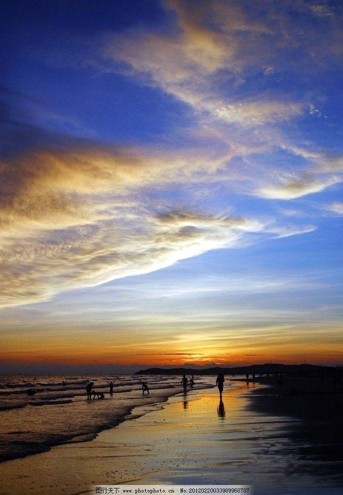 沙滩 大海 海边 日落 日出 朝霞 晚霞 彩云 火烧云 蓝天 白云 退潮 散