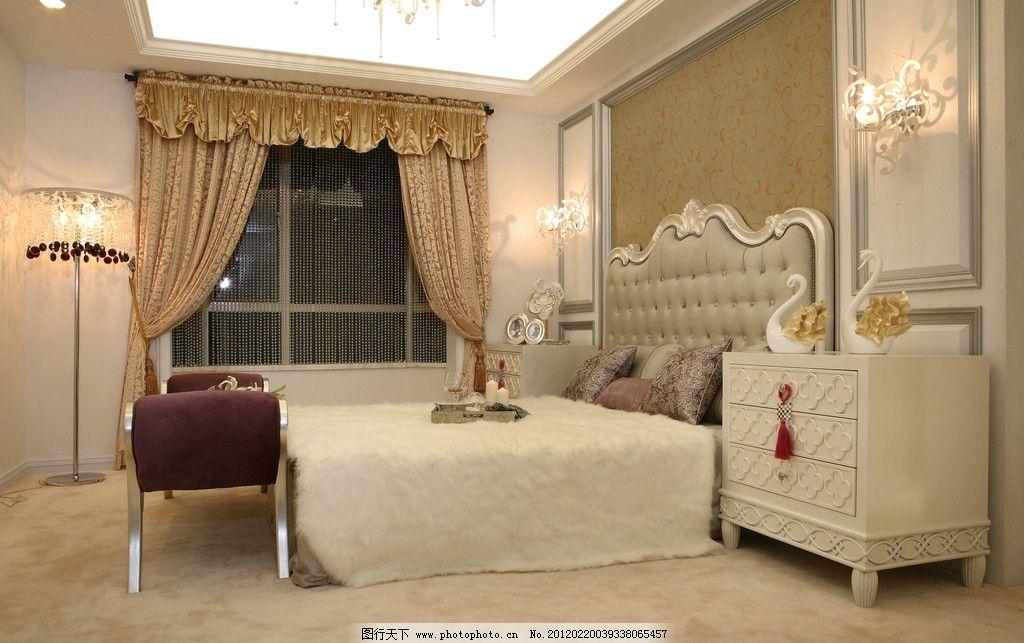 主卧实景图 简欧 欧式      床背景 窗帘 壁灯 地毯 落地灯 床头柜 软图片