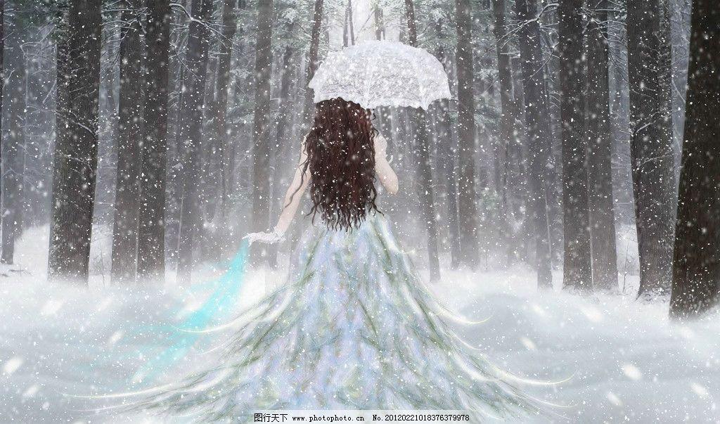 雪地里的女孩 下雪 女孩 浪漫 背影 唯美 裙子 伞 雪 长发 动漫人物