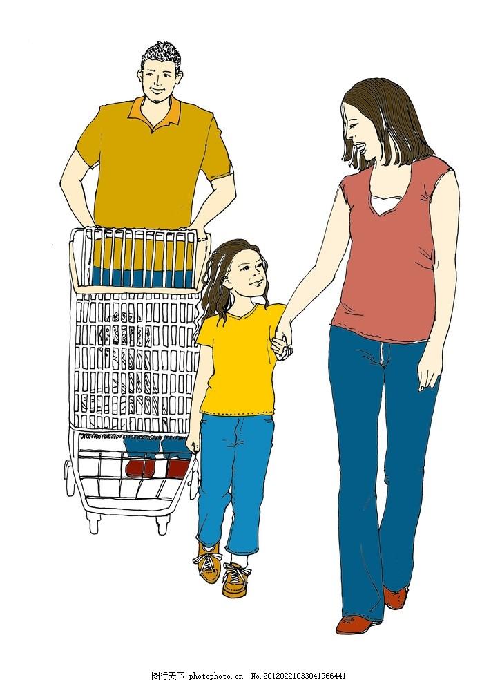 原创手绘 超市 购物 家庭 一家三口 三口之家 购物车 线描 素描