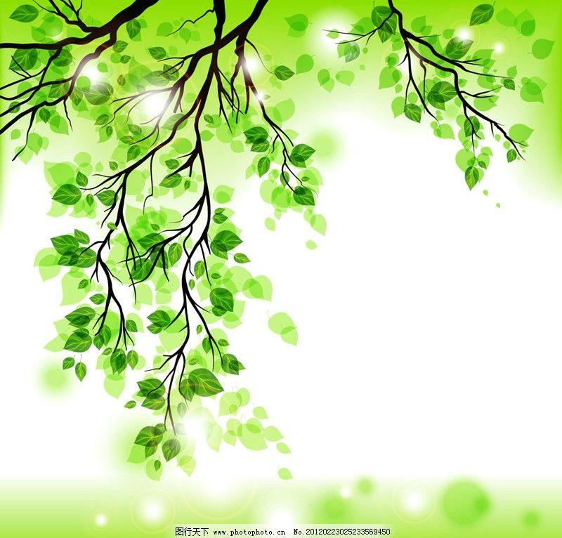 绿叶 树枝 绿色 树木 春天 叶子 手绘 光影 卡通 环保 生态