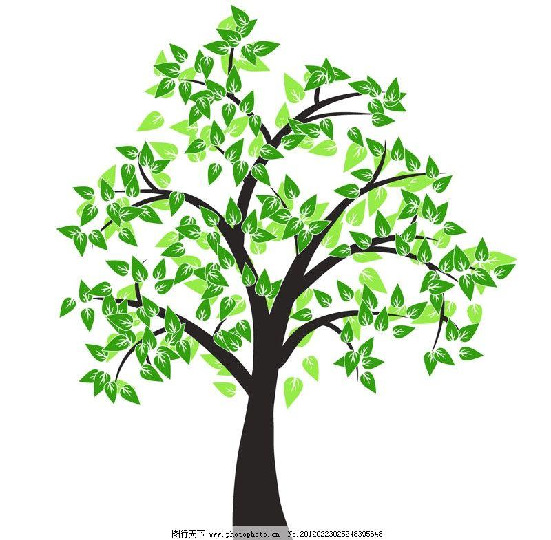 绿色 树木 树 春天 叶子 手绘 光影 卡通 环保 生态 展板 卡片 底纹