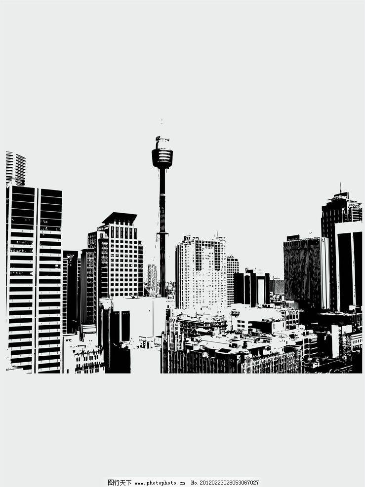 高楼黑白铅笔画