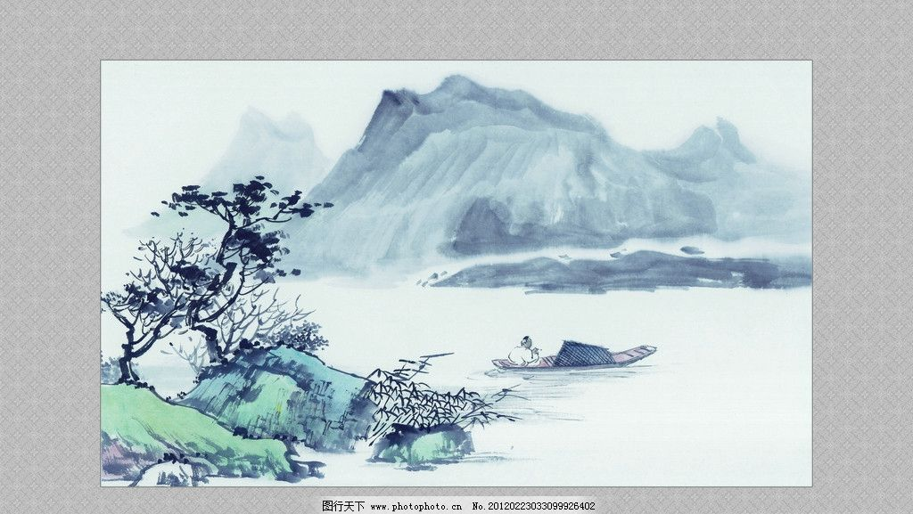 国画 山水画 挂画 花边 边框 psd分层素材 源文件 200dpi psd