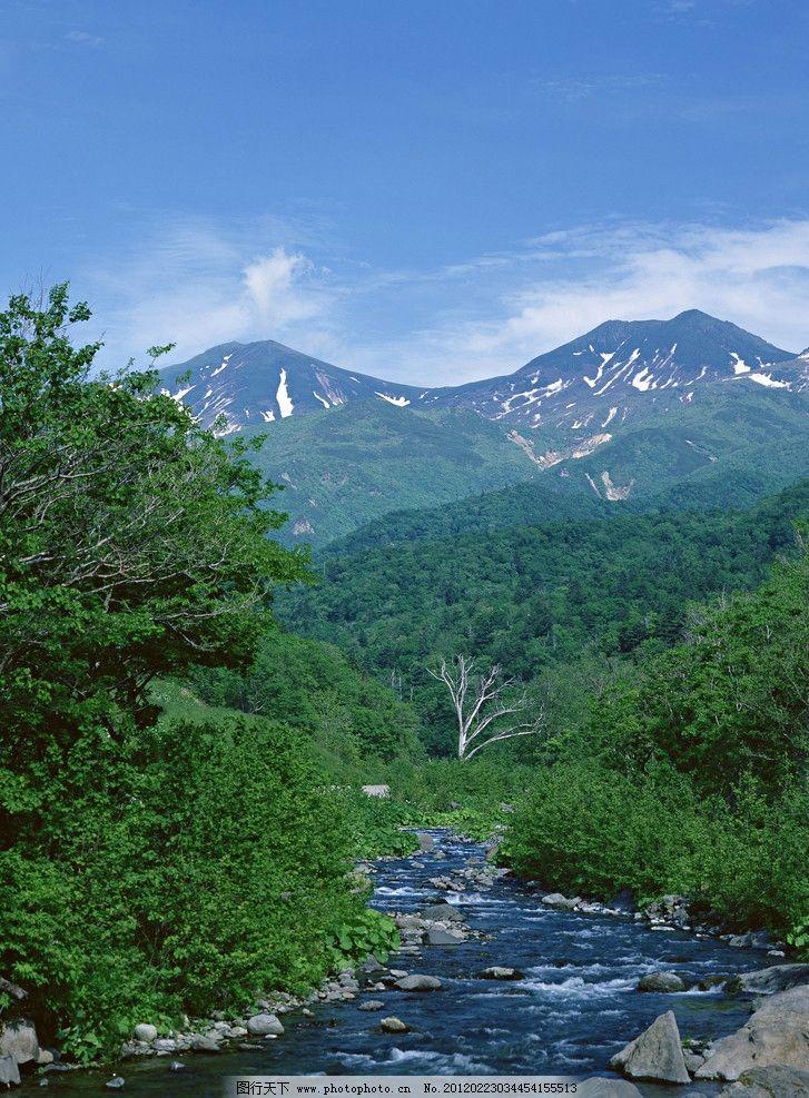 天空高山图片,蓝天 高山流水 绿树 急流 风景画 山水