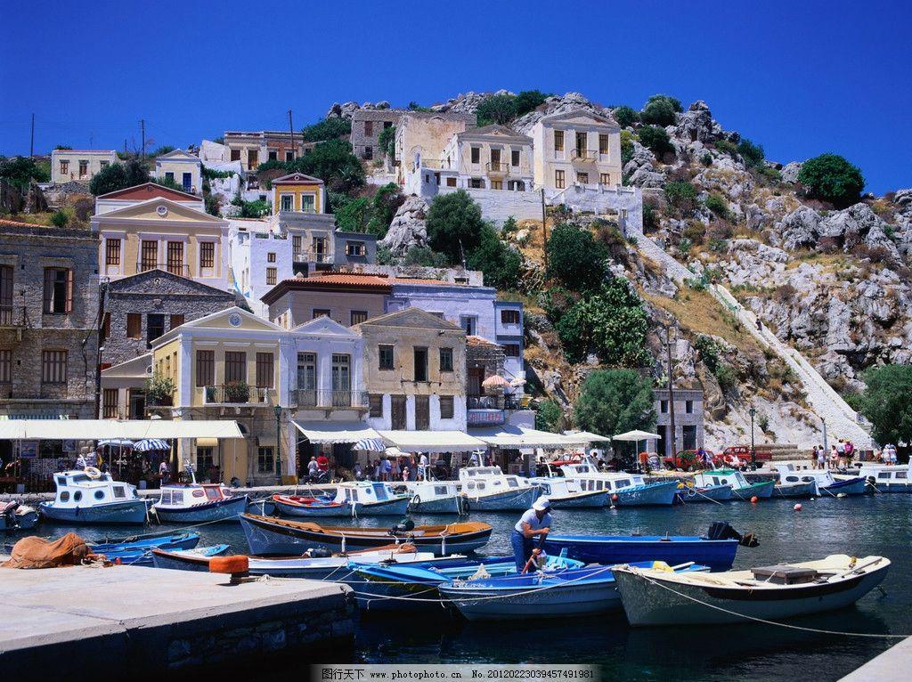 海边小镇 风景 优美 安静 蓝天 游艇 国外 美丽 建筑 古老