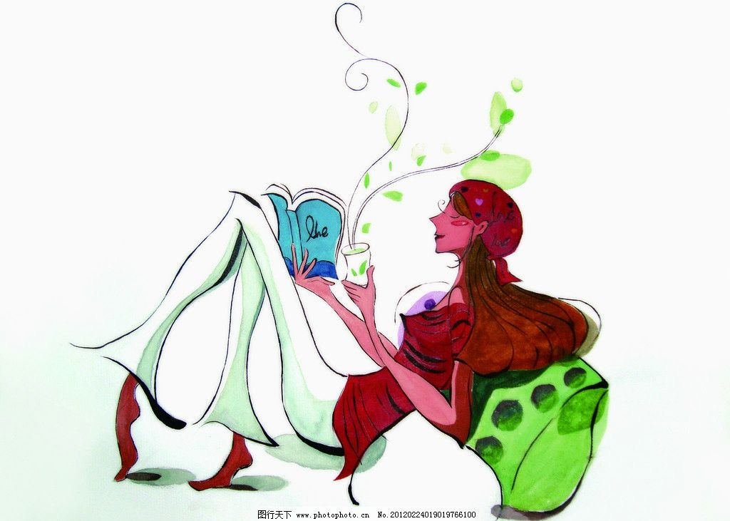 韩国漫画 看书 绘画 水粉 喝茶 喝水 设计 72dpi jpg