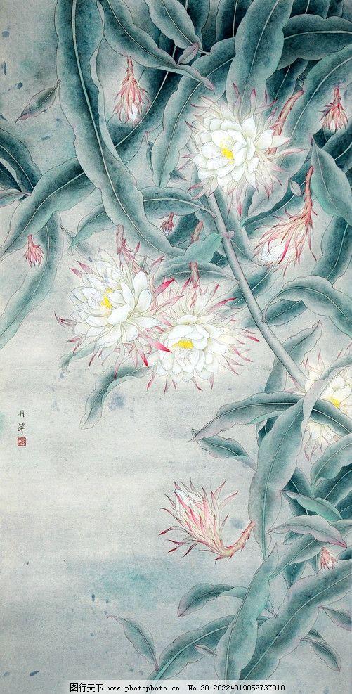夜馨 美术 中国画 工笔画 花卉 花朵 昙花 盛开 国画艺术 国画集65