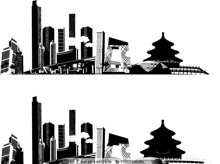 印象北京矢量 北京 建筑 天坛 央视大楼 国家歌剧院 高楼大厦 矢量