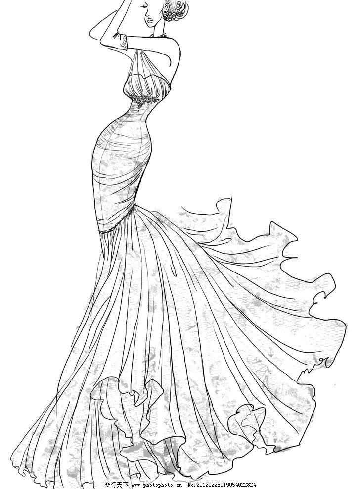 裙子素描画步骤