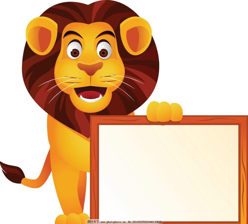 卡通狮子空白公告栏 卡通 漫画 动物 狮子 雄狮 背景 绿色环保 热带