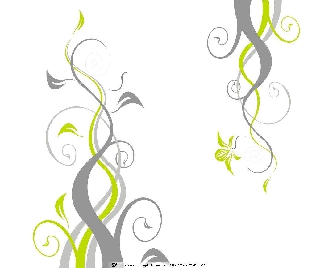 花枝 灰 绿 黄 曲线 花 叶子 线条 移门图案 玻璃图案 底纹边框 设计