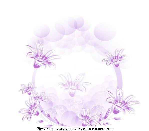 手绘百合 圆形花移门图案 紫色花纹 线条百合 玻璃移门图案 艺术门
