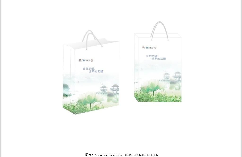 袋子图片免费下载 cdr 包装袋 包装设计 袋子 广告设计 荷花 亭子