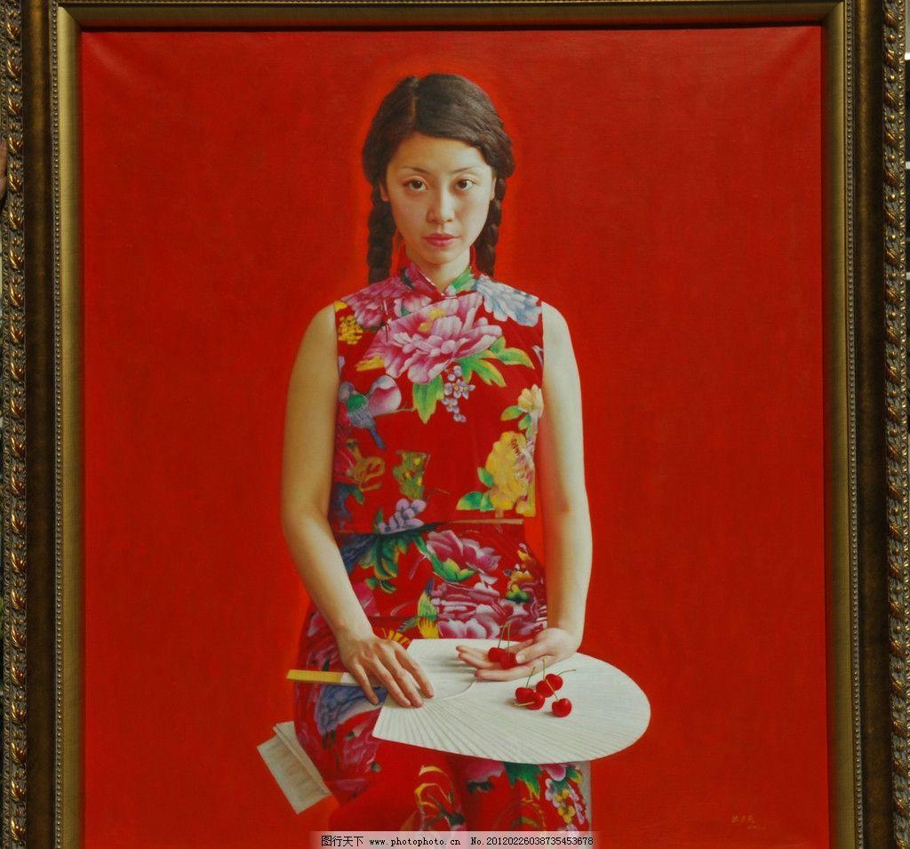 油画人物 油画 人物 女孩 花季 可爱 美丽 漂亮 现代 红背景 花裙子