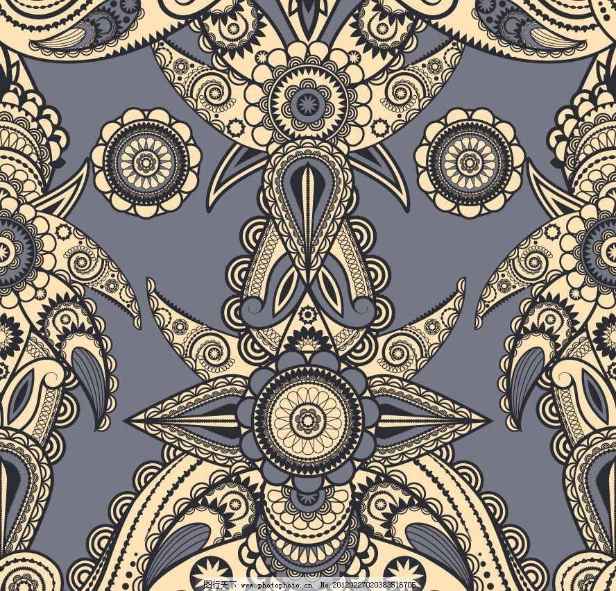 时尚 潮流 梦幻 花纹 花朵 花卉 线条 对称 背景 底纹 矢量 手绘花纹