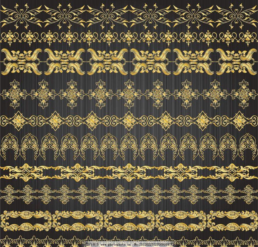 金色花纹边框装饰矢量 金色 欧式 古典 时尚 潮流 花纹 花边 装饰