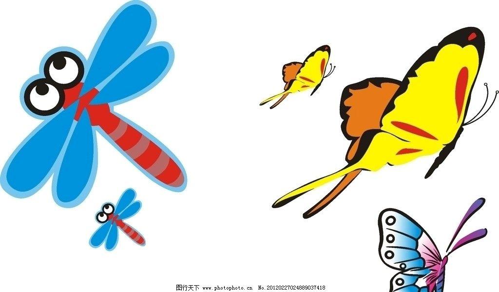 昆虫 矢量 蜻蜓 蝴蝶 卡通 生物世界 cdr