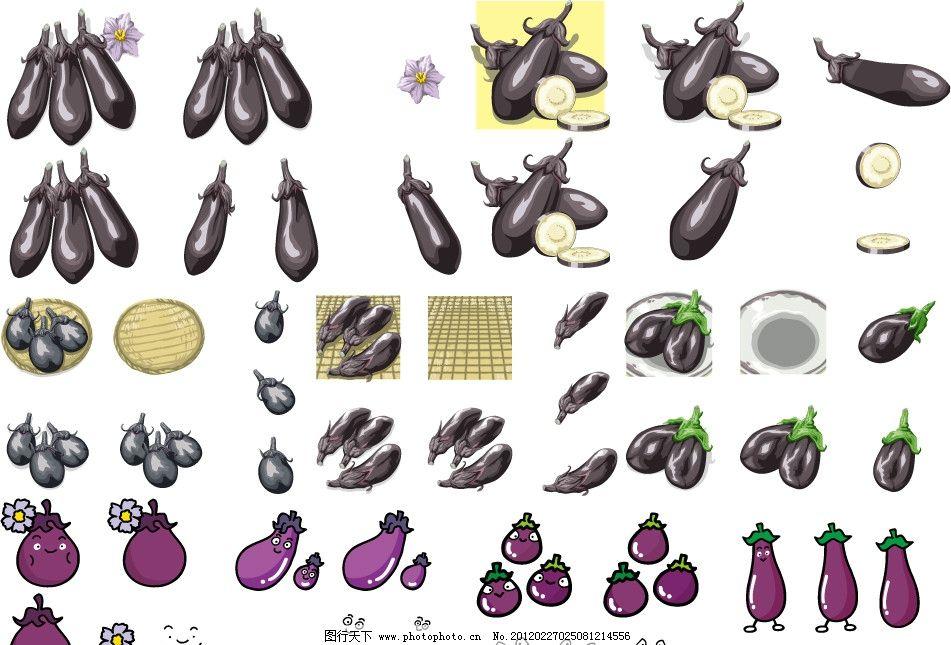 插图 茄子 紫色      茄子花 切开的茄子 盘子 手绘茄子表情 q版 可爱