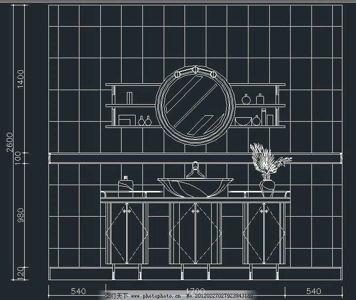 家装cad卫生间立面图纸图片