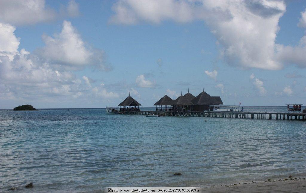 马尔代夫 蓝天白云海边 小屋 摄影 自然风景 自然景观 72dpi jpg