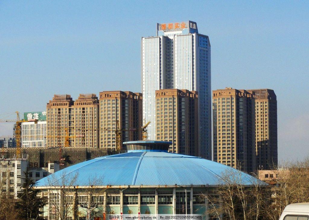 蓝天城市建筑图片