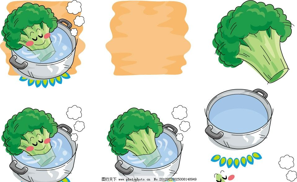 手绘西兰花表情 蔬菜 手绘 插画 插图 q版 可爱 卡通 表情 符号