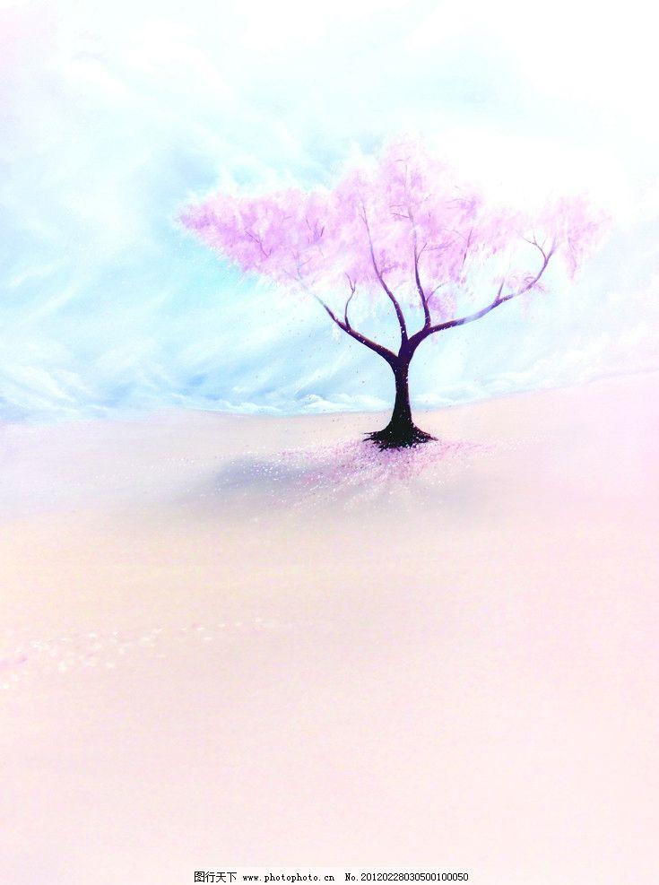 浪漫樱花 樱花 背景 樱花树 蓝天 花瓣 风景漫画 动漫动画 设计 35dpi