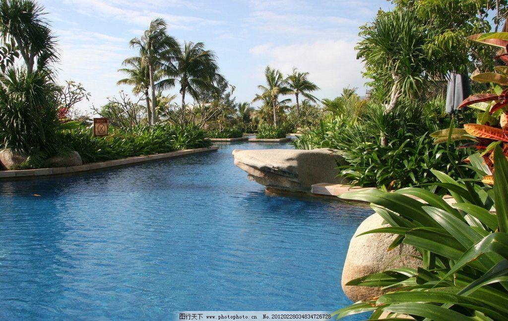 院子 别墅 酒店 野外 石头 棕榈树 水池 绿化 环境设计 景观设计 会所