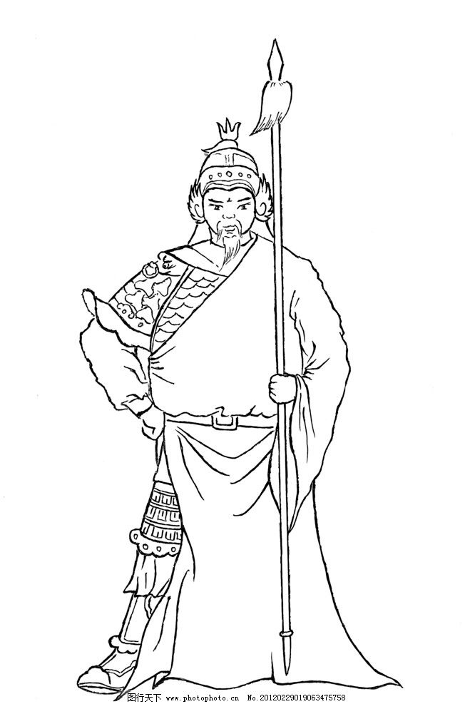 宋代 武将 古代 人物 古人 长枪 宋朝 白描人物 国画 绘画书法 文化