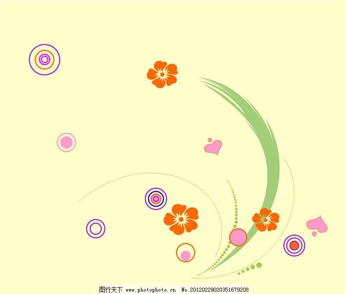 兰草 兰花 花朵 圆圈 圈圈 绿草 爱心 粉红 浪漫 可爱 矢量