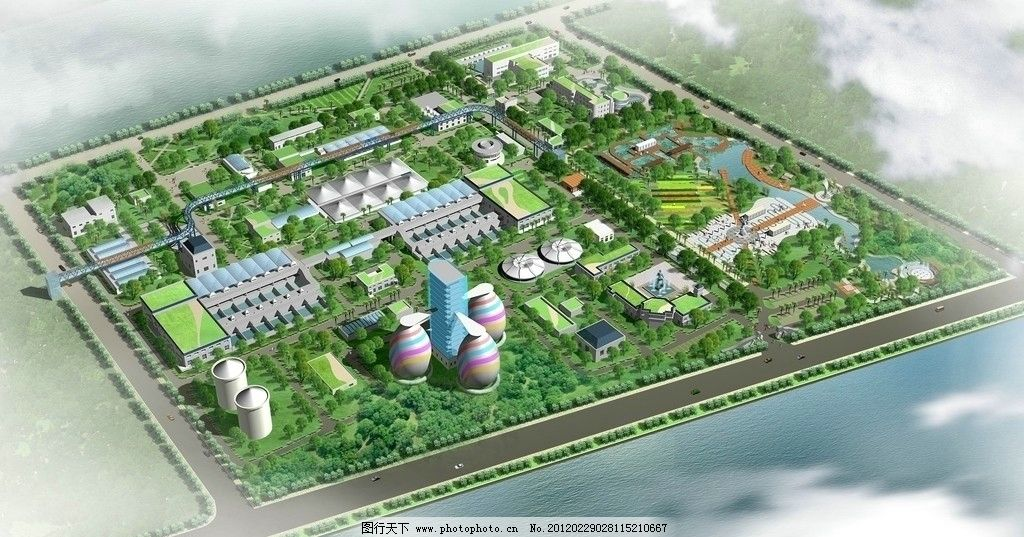 工厂鸟瞰 鸟瞰psd 景观鸟瞰 园林鸟瞰 俯视鸟瞰图 生态工厂 临街工厂