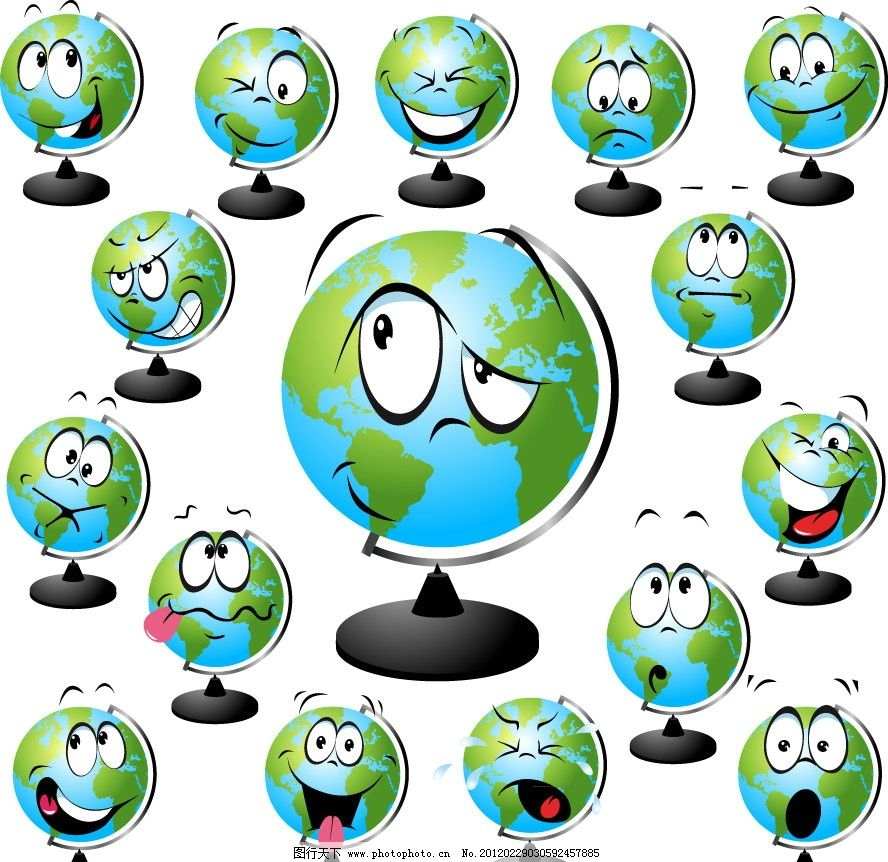 地球仪表情 可爱 幽默 有趣 滑稽 图标 矢量